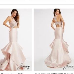 🆕Gorgeous layered pink beaded open back prom gown